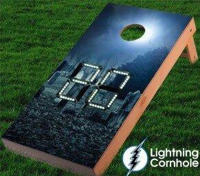 Electronic Scoring Graveyard Cornhole Board by Lightning Cornhole
