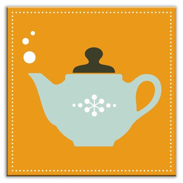 Kitschy Kitchen 4-1/4 x 4-1/4 Glossy Decorative Tile in Spot of Tea Orange-Light Teal by Oscar & Izzy