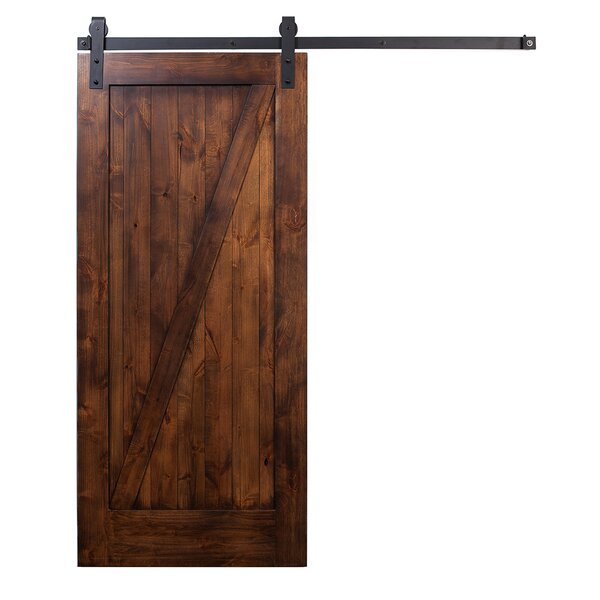 Wood 1 Panel Stained Sliding Barn Interior Door