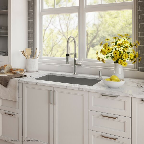 "Handmade Series 30"" x 18"" Undermount Kitchen Sink with Faucet and Soap Dispenser by Kraus"