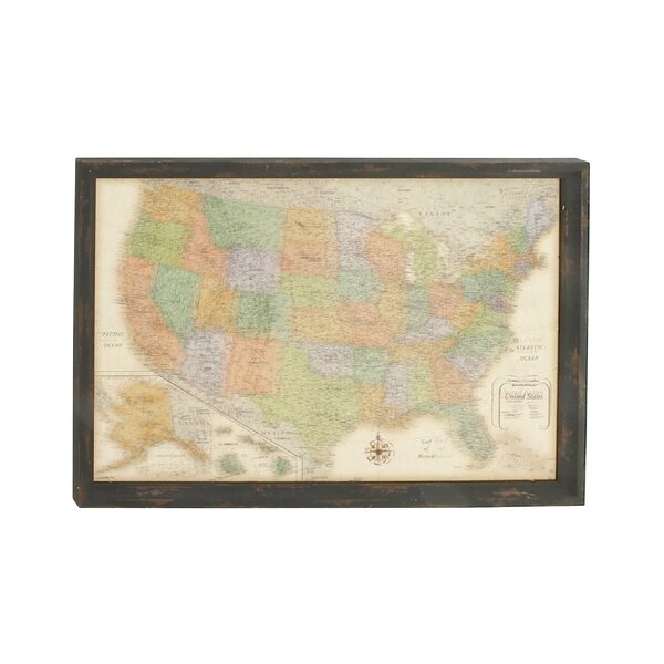 Decorative Wood Wall Map Framed Textual Art by Cole & Grey