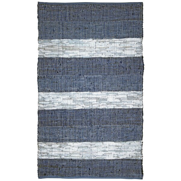 Sandford Flatweave Cotton/Leather Blue/White Area Rug by Highland Dunes