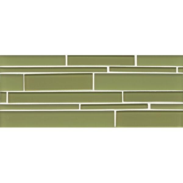 Harbor Glass Mosaic Random Interlocking Gloss/Matte Combo Tile in Moss by Grayson Martin