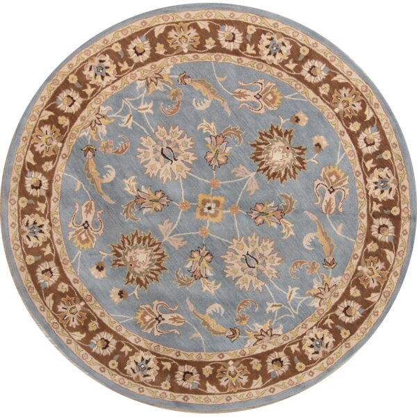 Carly Oushak Agra Oriental Hand-Tufted Wool Brown/Blue Area Rug by Charlton Home