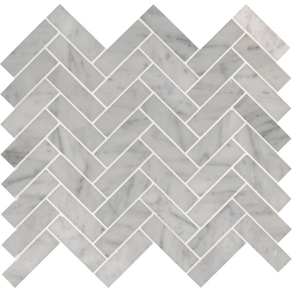 Carrara Herringbone 1x 3 Marble Mosaic Tile in White by MSI