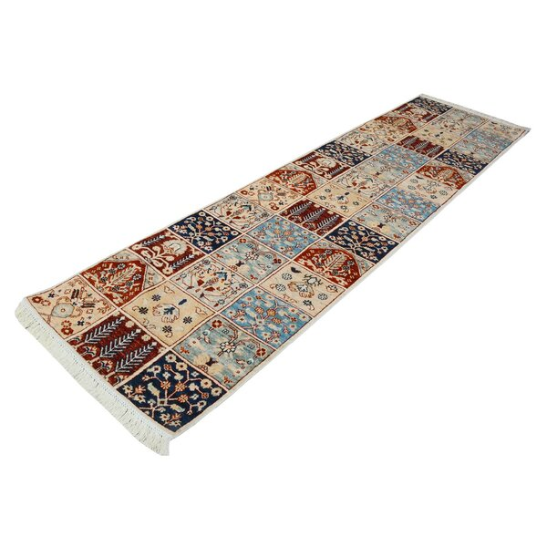 One-of-a-Kind Jeramiah Hand-Knotted Wool Ivory/Blue/Red Area Rug by Bloomsbury Market