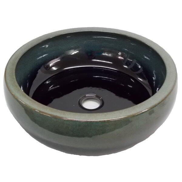 Aquamarine Ceramic Circular Vessel Bathroom Sink [Eden Bath]