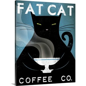 'Cat Coffee No City' by Ryan Fowler Vintage Advertisement on Wrapped Canvas by Great Big Canvas