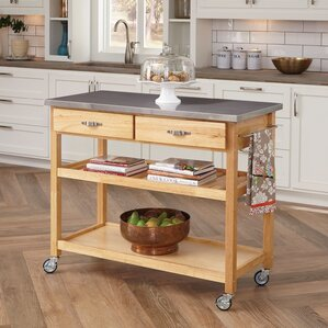 Great Drumtullagh Kitchen Island With Stainless Steel Top