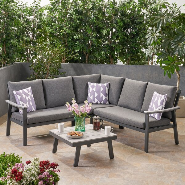 Arocho Outdoor 4 Piece Sectional Seating Group with Cushions by Ivy Bronx