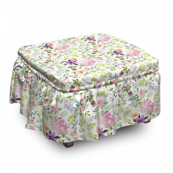 Best Gentle Spring Floral 2 Piece Box Cushion Ottoman Slipcover Set