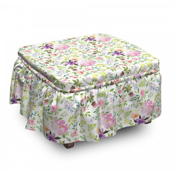 Low Price Gentle Spring Floral 2 Piece Box Cushion Ottoman Slipcover Set