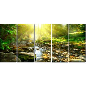 Mountain Stream in Forest 5 Piece Wall Art on Wrapped Canvas Set by Design Art