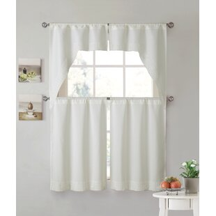 Bon White Kitchen Tier Curtains | Wayfair