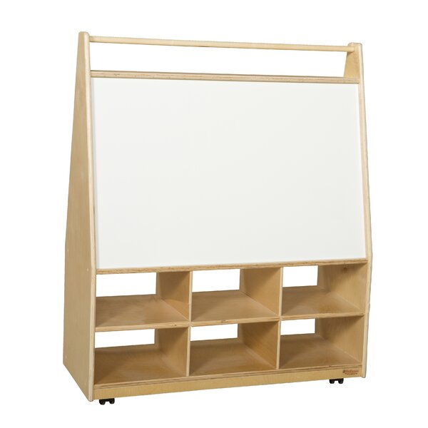 Double Sided 6 Compartment Book Display with Casters by Wood Designs