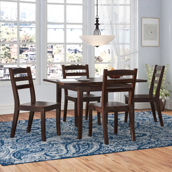 Pico 5 Piece Cream Frame Solid Wood Dining Set by Alcott Hill