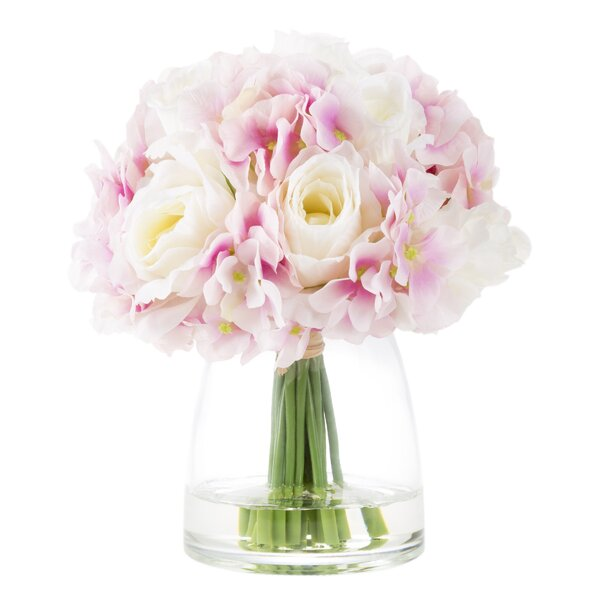 Hydrangea and Rose Floral Arrangement in Glass Vase by House of Hampton
