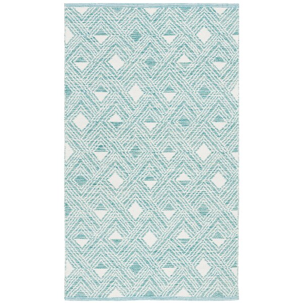 Dominica Hand-Woven Aqua/Ivory Area Rug by Highland Dunes