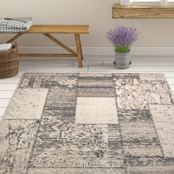 Kimes Gray / Charcoal Area Rug by Ophelia & Co.