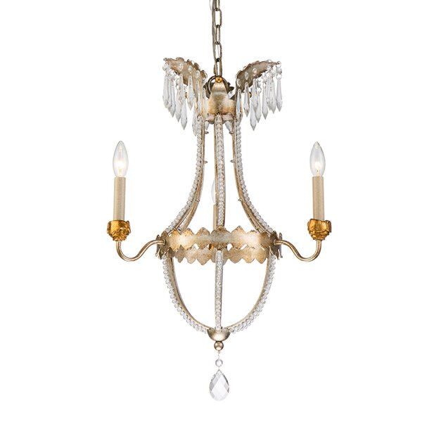 Karlton 3 - Light Candle Style Empire Chandelier with Crystal Accents by Bloomsbury Market Bloomsbury Market