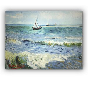 'Seascape at Saintes Maries' by Vincent Van Gogh Painting Print on Wrapped Canvas by Wexford Home