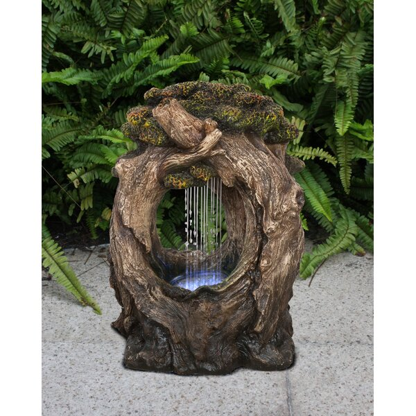 Resin Tree Trunk Rainfall Fountain with Light by Hi-Line Gift Ltd.