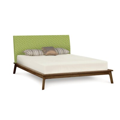 Catalina Queen Upholstered Platform Bed with Mattress Copeland Furniture Color: Natural Walnut, Upholstery Color: Dupione Latte
