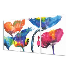Painted Look Rainbow Poppy Flowers 3 Piece Framed Painting Print on Canvas Set by Stupell Industries