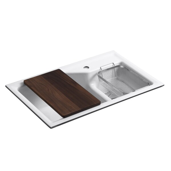 Indio 33 L x 21-1/8 W x 9-3/4 Under-Mount Smart Divide Large/Small Double-Bowl Kitchen Sink by Kohler