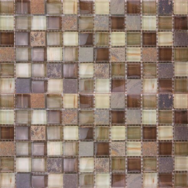 1 x 1 Glass and Natural Stone Mosaic Tile in Brown/Gray by Crystalcor USA