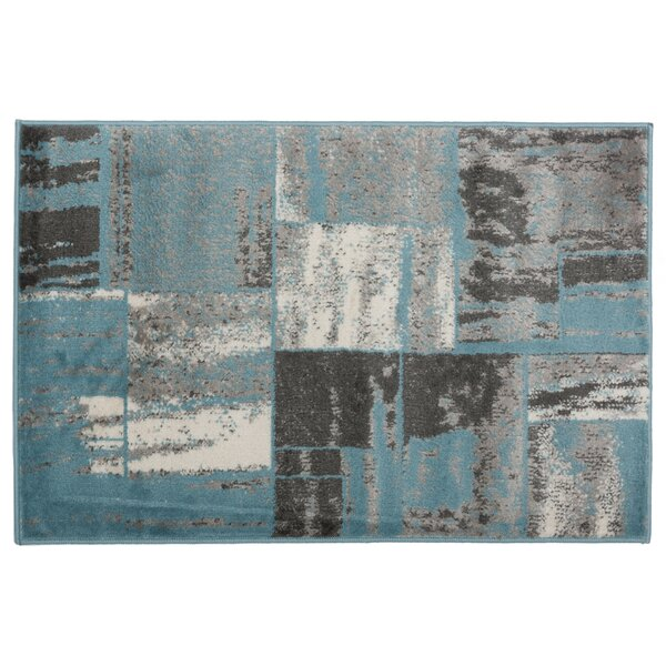 Hyde Distressed Geometric Boxes Gray Area Rug by Ebern Designs