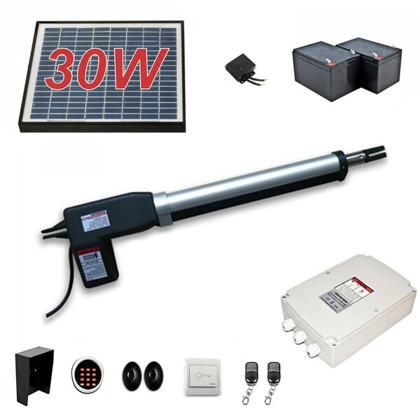 Single Swing Gate Operator AC/DC Solar Kit by ALEKO