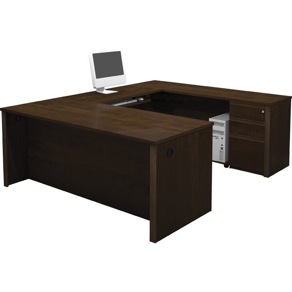 Bormann U-Shape Executive Desk in Cognac Cherry by Red Barrel Studio