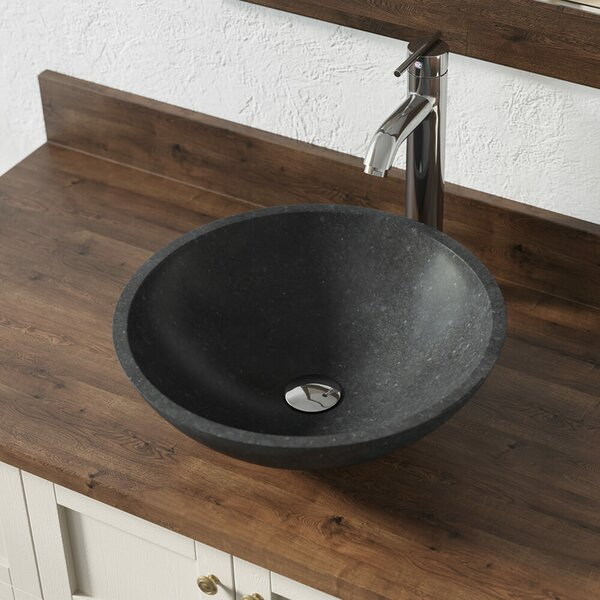 Honed Basalt Stone Circular Vessel Bathroom Sink with Faucet