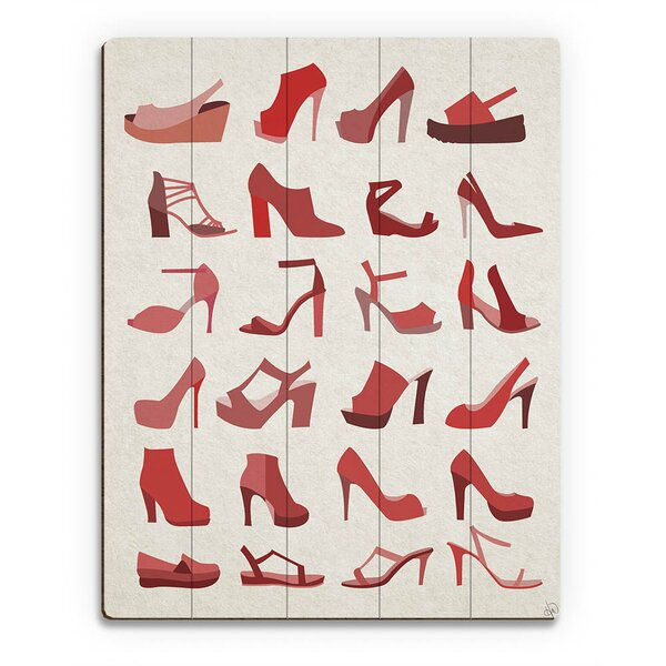 Wood Slats Shoes Collection Graphic Art on Plaque in Red by Click Wall Art