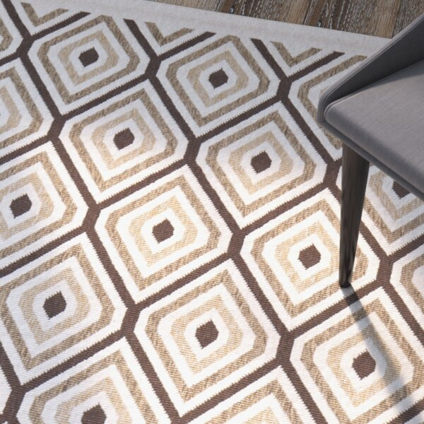 Armenta Cream / Chocolate Area Rug by Wrought Studio