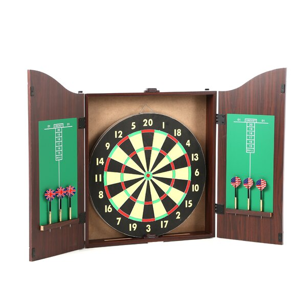 TGT 10 Piece Dartboard Cabinet Set in Realistic Walnut by Trademark GamesTGT 10 Piece Dartboard Cabinet Set in Realistic Walnut by Trademark Games