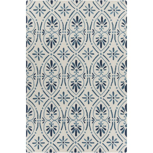 Shoreham Patterned Cream/Blue Area Rug by Rosecliff Heights