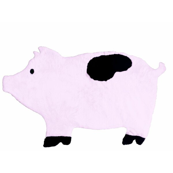 Howell Pig Faux Sheepskin Hand-Woven Pink Area Rug by Zoomie Kids