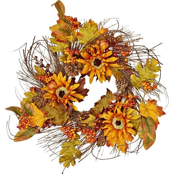 22 Fall Sunflower/Berry Wreath by Worth Imports