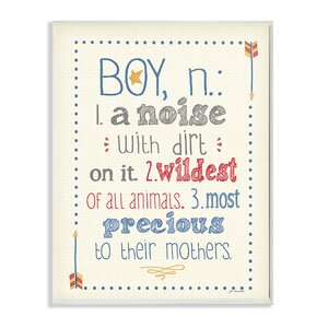 Stella Definition of Boy (n): A Noise with Dirt on It Typography Wall Plaque by Viv + Rae