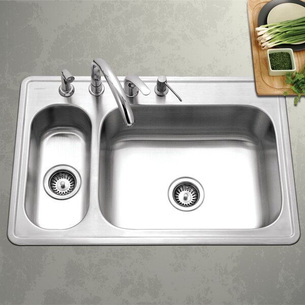 Legend 33 L x 15.75 - 22 W Topmount Double Bowl 80/20 Kitchen Sink by Houzer