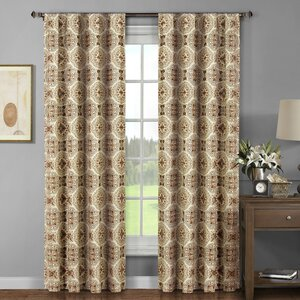 Caroline Damask Sheer Curtain Panels (Set of 2)