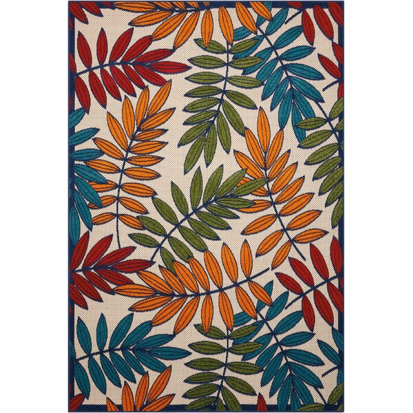 Farley Beige/Green Indoor/Outdoor Area Rug by Beachcrest Home