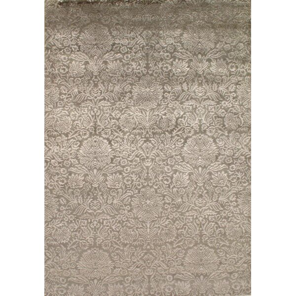 Indo Damask Tabriz Hand Knotted Silk/Wool Beige Area Rug by Pasargad NY