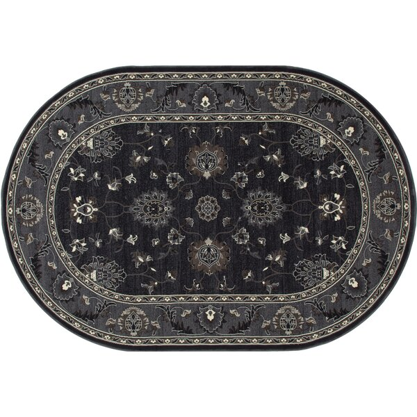Rene Simply Open Gray/Black Area Rug by Charlton Home