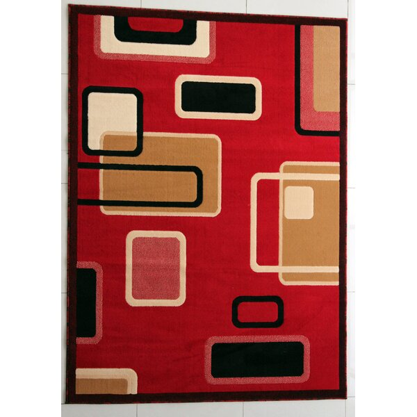 Galina Red Area Rug by Ebern Designs