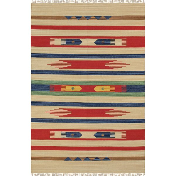 Anatolian Hand-Woven Cotton Blue/Red/Beige Area Rug by Pasargad