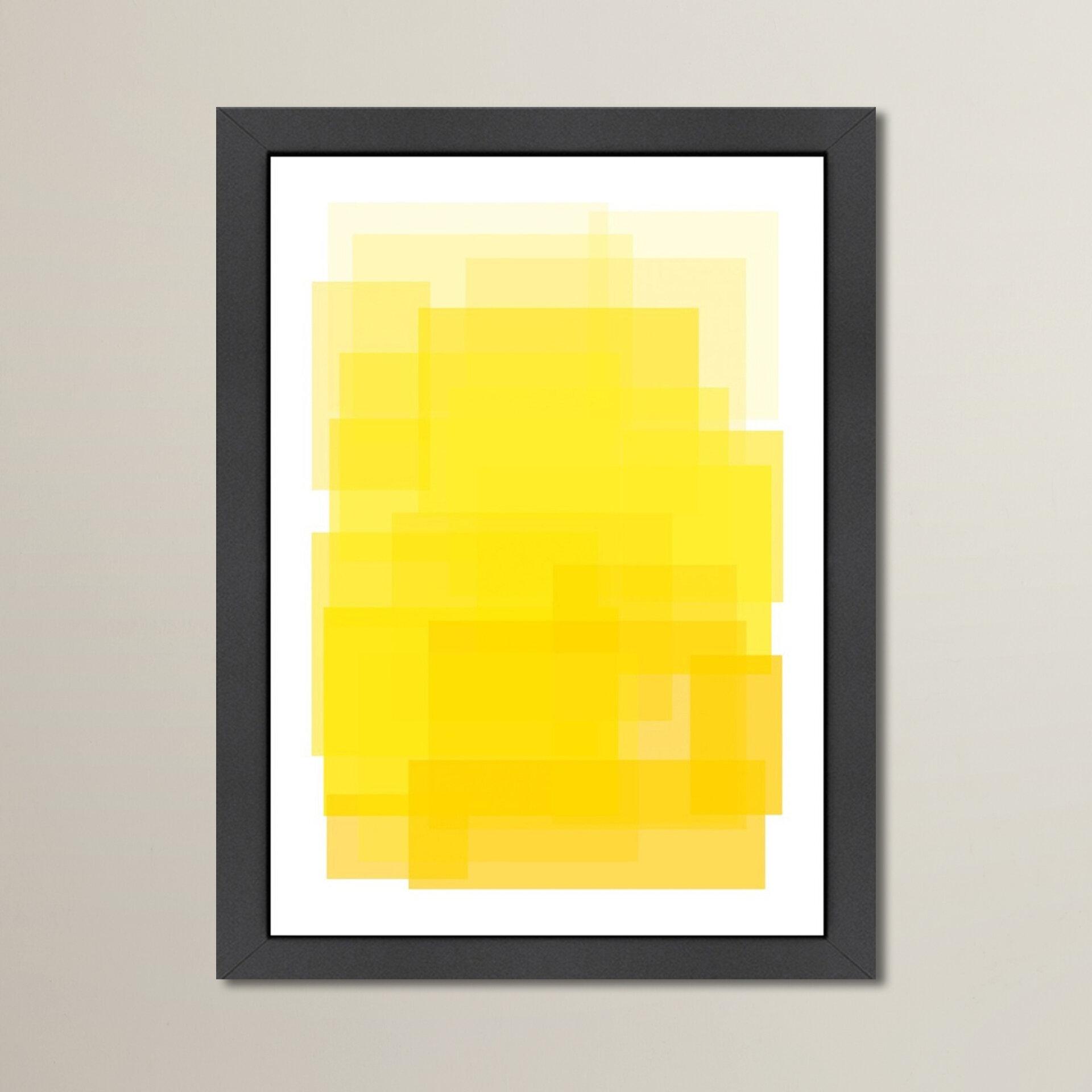 Mercury Row Libra \'Yellow Ombre\' Framed Graphic Art Print | Wayfair