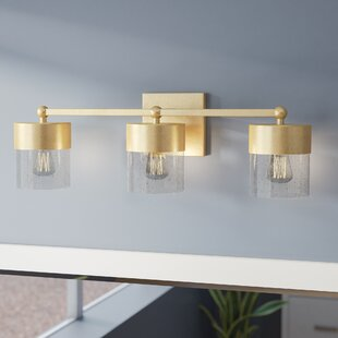 Affordable Ozella 3-Light Vanity Light with Clear Seeded Glass ByEverly Quinn